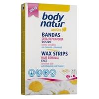 BODY NATUR Восковые полоски для лица для чувствительной кожи с Ромашкой и Витамином Е 12 шт. + 2 салфетки