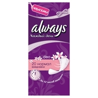 ALWAYS Женские гигиенические прокладки на каждый день Normal Deo Single 20 шт.