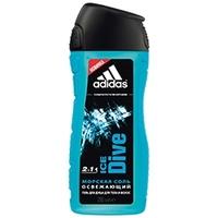 ADIDAS Гель для душа, шампунь и гель для умывания для мужчин Ice Dive 250 мл