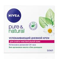 NIVEA Успокаивающий дневной крем Pure&Natural для сухой и чувствительной кожи 50 мл