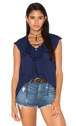 Блузка lace up front ruffle - Haute Hippie