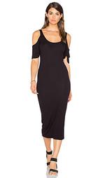 Стрейчевое шелковое платье в рубчик с рукавами-колокол - Enza Costa