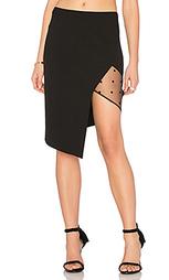 Асимметричная юбка с сеточной вставкой - Michelle Mason