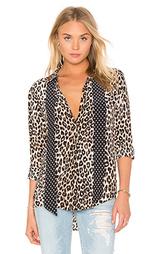 Блуза в леопардовых принтах с завязкой на шее slim signature - Equipment