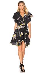 Мини платье с оборкой и v-образным рукавом - Halston Heritage