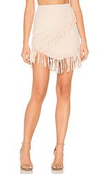 Замшевая юбка с ложным запахом и бахромой - 1. STATE