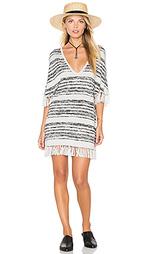 Вязаное платье с v-образным вырезом и отделкой бахромой - Chaser