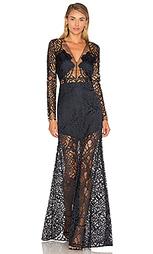 Кружевной вечернее платье с длинным рукавом - Michelle Mason