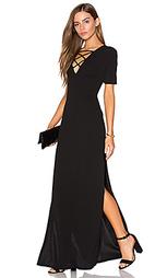 Макси платье на шнуровке с высоким вырезом - Lucca Couture
