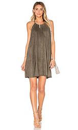 Замшевое цельнокройное платье с высоким воротом - Bishop + Young