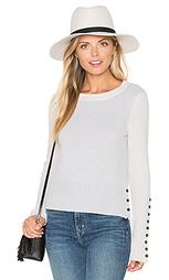 Вязаный свитер на пуговицах с круглым вырезом - White + Warren