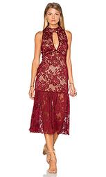 Миди платье без рукавов с высоким кружевным воротом - Endless Rose