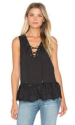 Lace up peplum top - maven west