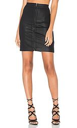 Coated zip front skirt - Heather