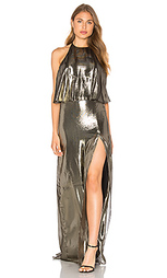 Вечернее платье с металликом на шлейках - Halston Heritage