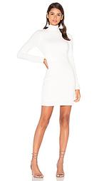 Облегающее платье из букле с длинным рукавом и высоким воротом - Bobi