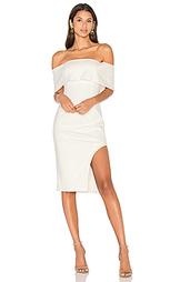 Миди платье с асимметричным подолом и бандо с глубоким вырезом - Lavish Alice