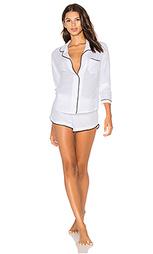 Пижама из натурального хлопка с окантовкой длинным рукавом и шортами - Only Hearts