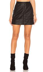 Кожаная юбка с ложной шнуровкой - BLANKNYC