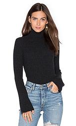 Свитер в рубчик с высоким воротом и рукавами-колокол - Autumn Cashmere
