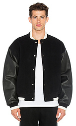 Varsity jacket with leather combo - T by Alexander Wang