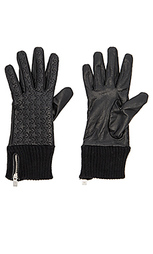 Leather rib cuff gloves - Maison Scotch