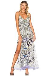 Платье макси с ярусами и v-образным вырезом - Camilla
