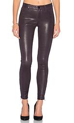 Кожаные узкие джинсы средней посадки - J Brand