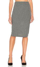 Плюшевая юбка-карандаш в рубчик - Bella Luxx