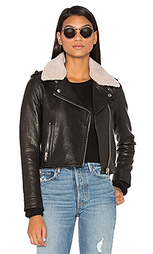 Detachable lamb shearling fur collar aviator moto jacket - DOMA