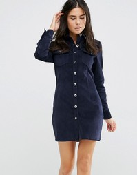 Вельветовое платье-рубашка на пуговицах Love & Other Things - Синий