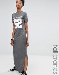 Трикотажное платье-футболка с эффектом металлик Noisy May Tall - Серый
