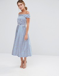 Платье в полоску с открытыми плечами Closet - Мульти