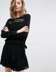 Платье с запахом на юбке и вырезным узором Ba&sh Joli - Черный Ba&Sh