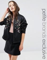 Куртка-пилот с цветочной вышивкой Fashion Union Petite - Черный