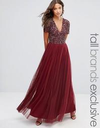Тюлевое платье макси с v-образным воротом и пайетками Maya Tall - Красный