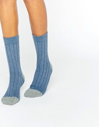 Johnstons of Elgin Blue Cashmere Colour Block Ribbed Socks - Синий