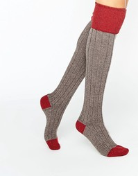 Johnstons of Elgin Red Cashmere Colour Block Knee High Socks - Красный