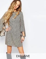 Платье мини в стиле 70‑х с рукавом‑колоколом Reclaimed Vintage - Мульти