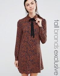 Платье с леопардовым принтом и лентой на вороте Fashion Union Tall Diana - Коричневый
