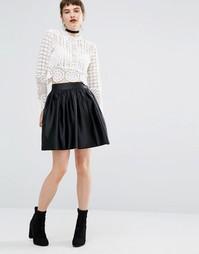 Пышная атласная мини-юбка Miss Selfridge - Черный
