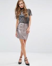 Джинсовая мини-юбка металлик Miss Selfridge - Серебряный