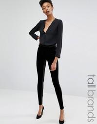 Бархатные брюки Y.A.S Tall - Черный