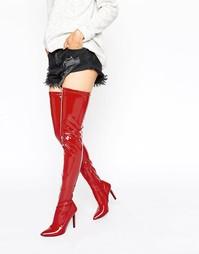 Красные сапоги-ботфорты на каблуке Public Desire Halloween - Красный
