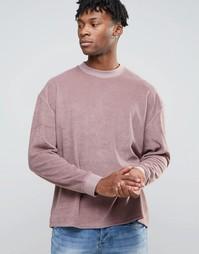 Розовый махровый oversize-свитшот ASOS - Розовый