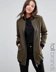 Удлиненная куртка‑пилот на меховой подкладке Missguided Tall - Зеленый
