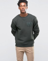Wood Wood Houston Sweatshirt AA Logo Embroidery - Зеленый