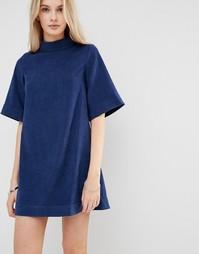 Цельнокройное платье из искусственной замши с рукавом 3/4 Love & Other Things - Синий