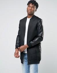 Удлиненная сетчатая куртка-пилот с рукавами в кожаном стиле BL7CK - Черный