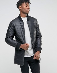 Длинная дутая куртка из искусственной кожи BL7CK - Черный